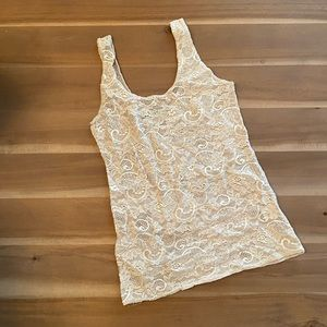 Talula silver/grey off white lace top size small